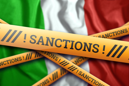 Creative background, the inscription on the flag of Italy, sanctions, yellow protective tape. The concept of sanctions, policies, conditions, requirements, trade wars. 3d rendering, 3d illustration