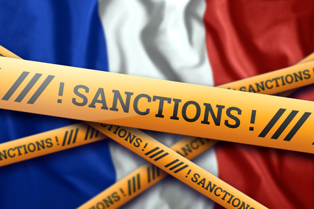 Creative background, inscription on the flag of France sanctions, yellow fencing tape. The concept of sanctions, policies, conditions, requirements, trade wars. 3d rendering, 3d illustration