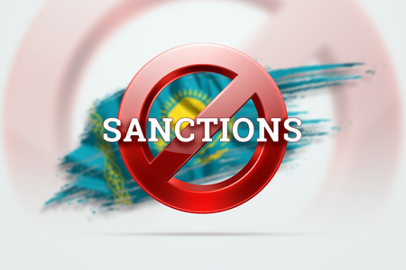 The sign of the ban, the inscription of the sanctions on the flag of Kazakhstan. Concept of sanctions and embargo, import ban, politics, 3d rendering, 3d illustration.