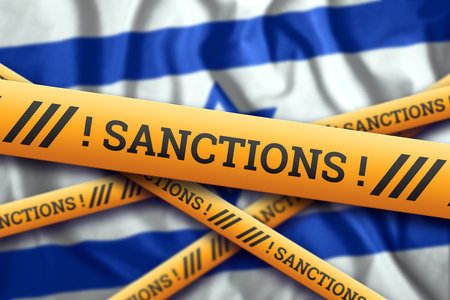 Creative background, inscription on the flag of Israel, sanctions, yellow fencing tape. The concept of sanctions, policies, conditions, requirements, trade wars. 3d rendering, 3d illustration