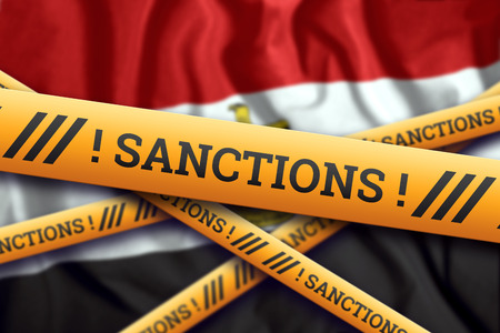 Creative background, the inscription on the flag of Egypt, sanctions, yellow fencing tape. The concept of sanctions, policies, conditions, requirements, trade wars. 3d rendering, 3d illustration