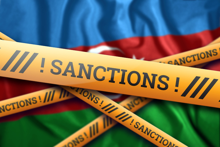 Creative background, inscription on the flag of Azerbaijan, sanctions, yellow fencing tape. The concept of sanctions, policies, conditions, requirements, trade wars. 3d rendering, 3d illustration