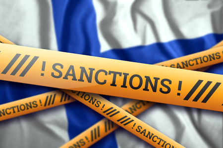 Creative background, inscription on the flag of Finland, sanctions, yellow fencing tape. The concept of sanctions, policies, conditions, requirements, trade wars. 3d rendering, 3d illustration Фото со стока