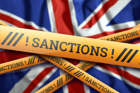Creative background, the inscription on the flag of Great Britain, sanctions, yellow fencing tape. The concept of sanctions, policies, conditions, requirements. 3d rendering, 3d illustration