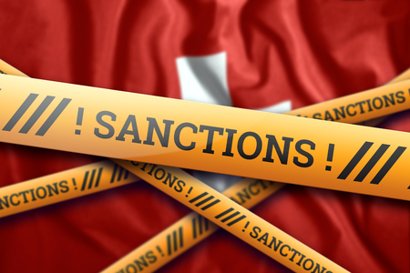 Creative background, the inscription on the flag of Switzerland, sanctions, yellow fencing tape. The concept of sanctions, policies, conditions, requirements. 3d rendering, 3d illustration