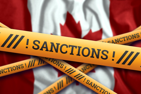 Creative background, the inscription on the flag of Canada, sanctions, yellow fencing tape. The concept of sanctions, policies, conditions, requirements, trade wars. 3d rendering, 3d illustration