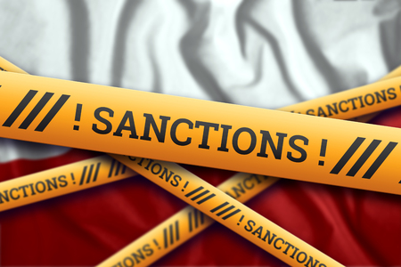 Creative background, the inscription on the flag of Poland, sanctions, yellow fencing tape. The concept of sanctions, policies, conditions, requirements, trade wars. 3d rendering, 3d illustration