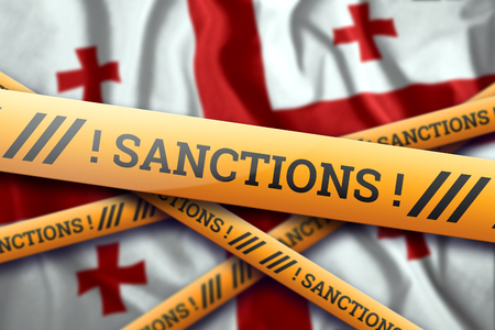 Creative background, inscription on the flag of Georgia, sanctions, yellow fencing tape. The concept of sanctions, policies, conditions, requirements, trade wars. 3d rendering, 3d illustration