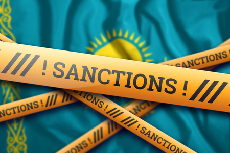 Creative background, inscription on the flag of Kazakhstan, sanctions, yellow fencing tape. The concept of sanctions, policies, conditions, requirements, trade wars. 3d rendering, 3d illustration