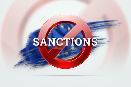 The sign of the ban, the inscription of the sanctions on the flag of the European Union. Concept of sanctions and embargo, import ban, politics, 3d rendering, 3d illustration. Stock Photo