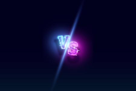 Creative background, Blue neon versus logo, letters for sports and wrestling. game concept, competition, competition, wrestling, sport. 3D rendering, 3D illustration. Banque d'images - 119345195