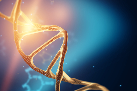 Creative background, dna structure, DNA molecule on a blue background, ultraviolet. 3d render, 3d illustration. The concept of medicine, research, experiments, experiment, virus, disease.