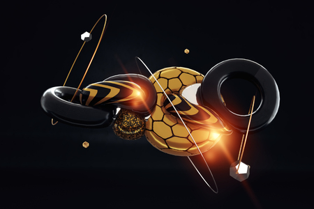 Creative background, 3d render of geometric distorted primitives gold. Flying shapes in motion, on a black background. Concept Abstract theme for fashion designs, trend, copy space. 3D illustration