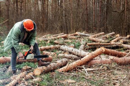 Holzeinschlag, Arbeiter im Schutzanzug mit einer Kettensäge zum Sägen von Holz. Bäume fällen, Waldzerstörung. Das Konzept der industriellen Zerstörung von Bäumen, die der Umwelt schaden. Standard-Bild
