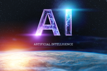 Inscription AI, artificial intelligence, hologram, dark background. The concept of artificial intelligence, neural networks, robotization, machine learning. copy space