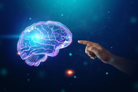 L'immagine del cervello umano, un ologramma, uno sfondo scuro. Il concetto di intelligenza artificiale, reti neurali, robotizzazione, apprendimento automatico. copia spazio.