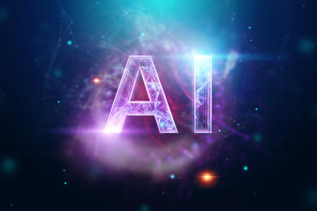 Inscription AI, artificial intelligence, hologram, dark background. The concept of artificial intelligence, neural networks, robotization, machine learning. 3D illustration, copy space.