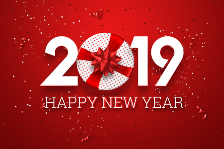 Creative background, numbers 2019 and festive confetti, spiral ribbons on a red background. Happy New Year 2019. Decoration element with tinsel, copy space.