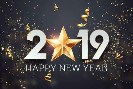 Creative background, 2019 Happy new year. Gold Numbers Design of greeting card of. Gold Shining Pattern. Happy New Year Banner with 2019 Numbers on a dark background. Confetti, copy space.