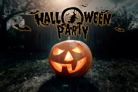 Halloween party, ghost, pumpkin. Design of a holiday flyer, invitation card, postcard.