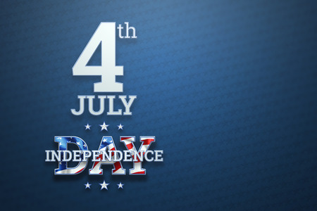 Creative background, Independence Day inscription on blue background, 4th of July, American flag. Independence Day Banner of America, postcard, democracy, copy space.