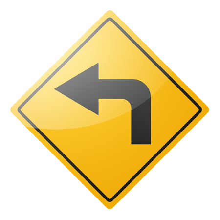 Panneau de signalisation jaune, flèche, tourner à gauche, sur fond blanc. Isoler.