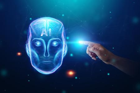 Blue Hologram robot head, artificial intelligence on blue background. Concept neural networks, autopilot, robotization, industrial revolution 4.0.