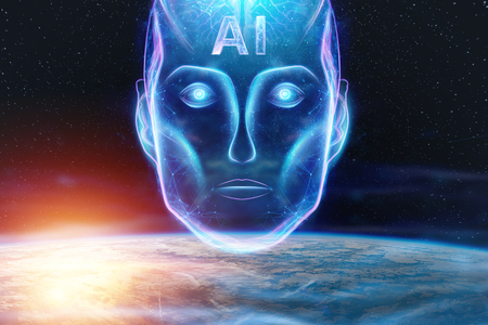 Blue Hologram of a robot head, artificial intelligence against the background of the earth. Concept neural networks, autopilot, robotization, industrial revolution 4.0. 写真素材