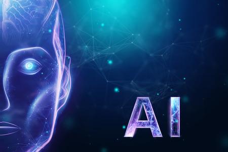 Blue Hologram robot head, artificial intelligence on blue background. Concept neural networks, autopilot, robotization, industrial revolution 4.0. 3D illustration, 3D rendering.