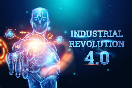 Blue Hologram of a robot, cyborg on a blue background, the inscription Industrial Revolution 4.0. The concept of autopilot, robotization, artificial intelligence. 3D illustration, 3D rendering.