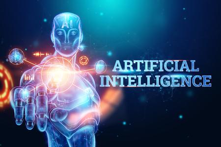 Blue Hologram of a robot, cyborg on a blue background, the inscription artificial intelligence. Concept neural networks, robotization, industrial revolution 4.0. 3D illustration, 3D rendering. Banco de Imagens