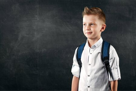 Portrait of a boy from an elementary school on a background of a school board. The concept back to school, knowledge day, the first of September, the beginning of school activities. Standard-Bild