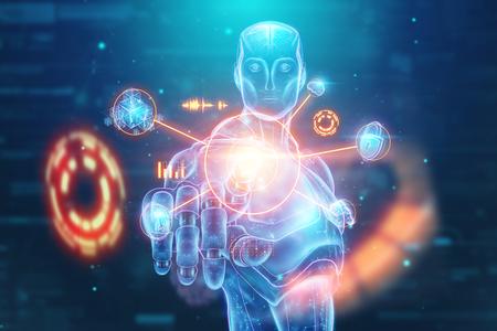 Blue Hologram of a robot, cyborg, artificial intelligence on a blue background. Concept neural networks, autopilot, robotization, industrial revolution 4.0. 3D illustration, 3D rendering.