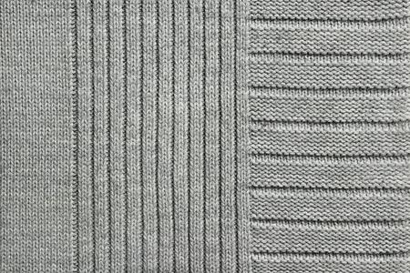 Textura de tejido de punto gris, primer plano, vista superior