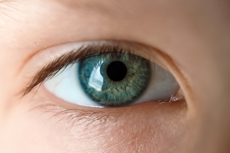 Baby's eye is blue, close-up. Stock Photo - 122099389