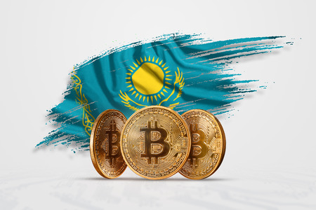 Crypto currency, gold coin BITCOIN BTC. Coin bitcoin against the background of the flag of Kazakhstan. The concept a new currency, Blockchain Technology , a token. 免版税图像