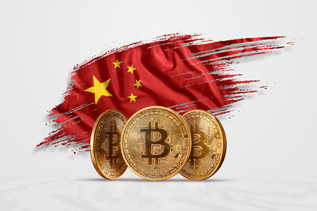 Crypto currency, gold coin BITCOIN BTC. Coin bitcoin against the background of the flag of China. The concept a new currency, Blockchain Technology , a token.