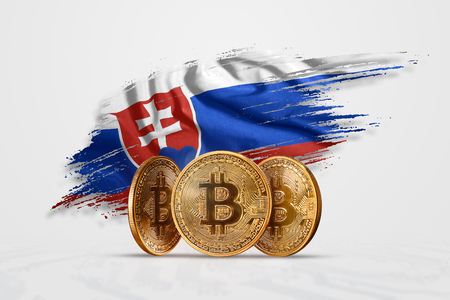 Crypto currency, gold coin BITCOIN BTC. Coin bitcoin against the background of the flag of Slovakia. The concept a new currency, Blockchain Technology , a token.