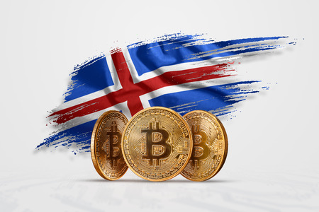 Crypto currency, gold coin BITCOIN BTC. Coin bitcoin against the background of the flag of Iceland. The concept a new currency, Blockchain Technology , a token.
