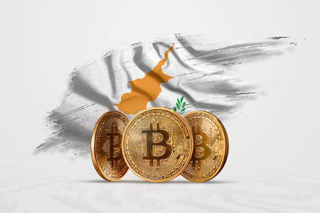 Crypto currency, gold coin BITCOIN BTC. Coin bitcoin against the background of the flag of Cyprus. The concept a new currency, Blockchain Technology , a token.