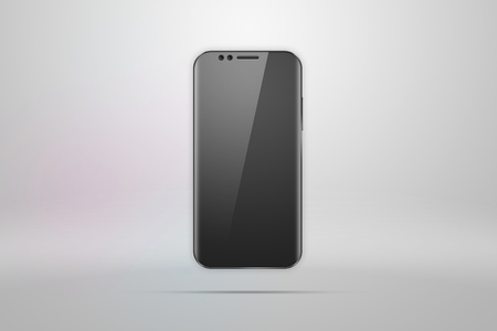 Realistic illustration with a picture of a smartphone on a light background. Design, smartphone, glare. The concept of a layout, design, mobile phone. Trend is 2018, mockup, copy space. Banco de Imagens