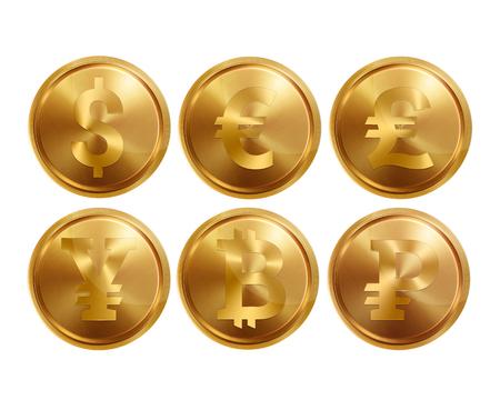 Satz Münzsymbole auf weißem Hintergrund, isolieren. Bankbild von Dollar, Euro, Pfund Sterling, Yuan, Rubel, Bitkoyn. Symbole von Währungen, Illustrationen, 3d. Unternehmen.