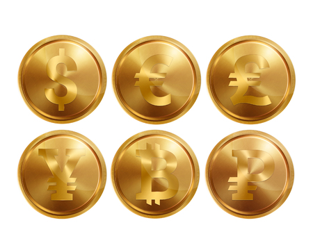 Set of coin icons on white background, isolate. Bank image of the dollar, euro, pound sterling, yuan, ruble, bitkoyn. Symbols of currencies, illustrations, 3d. Business.