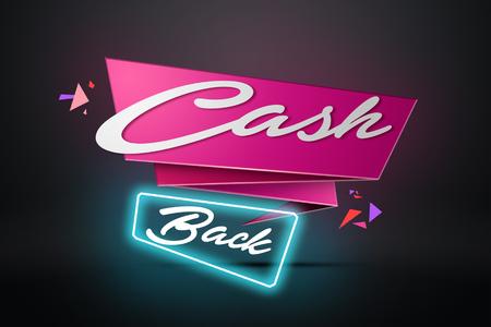 The inscription Cash Back, the emblem image on a dark background. Icon, A symbol of cash back. The concept of business, finance. Black, pink color. Illustration, 3d. Stok Fotoğraf