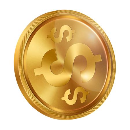 Afbeelding van een munt met een bankdollarteken op een witte achtergrond, isoleren. Het dollarteken van de dollar. Symbolen van valuta, illustraties, 3d. Bedrijf. Stockfoto