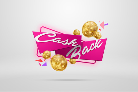 The inscription Cash Back, an image of the emblem and gold coins on a light background. Business concept, money back, finances, customer focus. White, pink, gold color. Illustration, 3d.