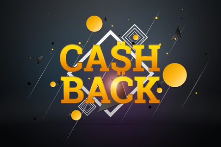 Inscription Cash Back, emblem image on a dark background. Business concept, money back, finances, customer focus. White, gold color. Illustration, 3d. 写真素材