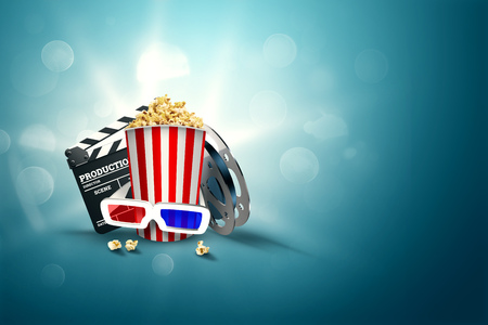 Online movies, cinemas, an image of popcorn, 3d glasses, a movie film and a blackboard on a blue background. The concept of a cinema on the Internet, a mobile cinema, realistic illustration, 3d.