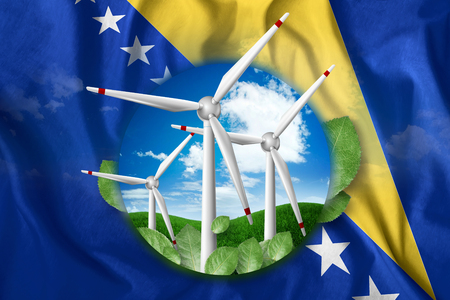 Free energy, windmills against the background of nature and the flag of Bosnia and Herzegovina. The concept of clean energy, renewable energy sources, free electricity, Mixed media.