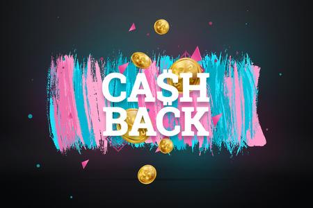 Inscription Cash Back, emblem image on white background. Business concept, money back, finances, customer focus. White, pink, blue color. Illustration, 3d. Banco de Imagens